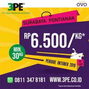 Biaya pengiriman barang Surabaya ke pontianak Oktober 2019 Tiga Permata Ekspres