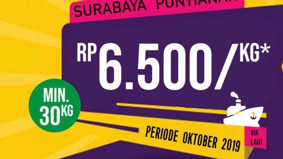 Biaya pengiriman barang Surabaya ke pontianak Oktober 2019
