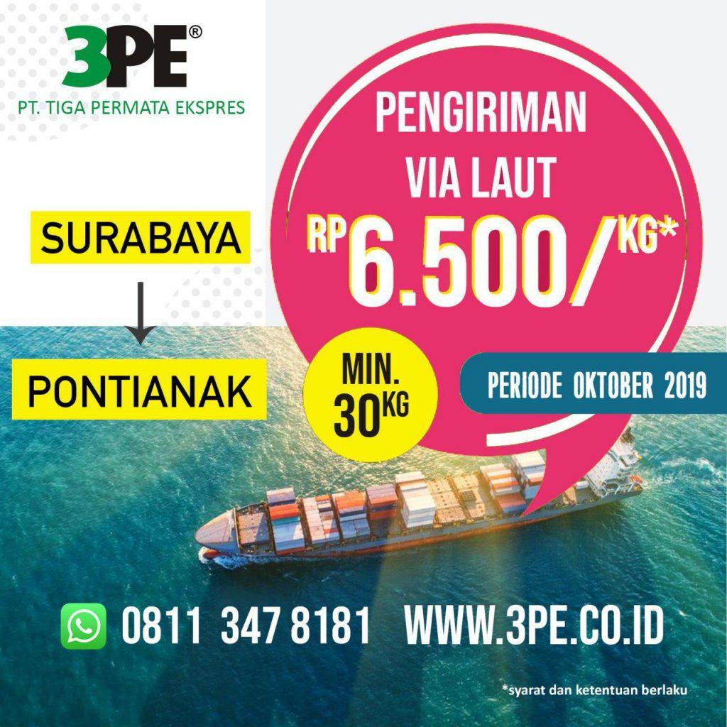Pengiriman barang dari Surabaya ke Pontianak Melalui Tiga Permata Ekspre